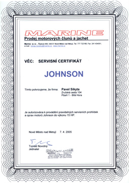certifikát Johnson